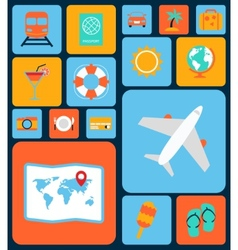 Travel icons flat set vector image vector image