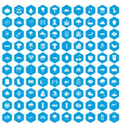 100 rain icons set blue vector