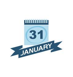 31 january calendar with ribbon vector