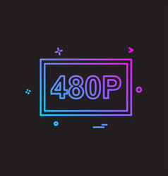 480p video icon design vector image