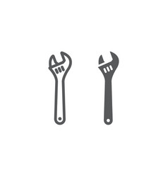 adjustable wrench line and glyph icon tool and vector image