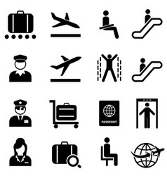 airport and airplane travel web icon set vector image