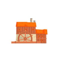 Ancient windmill medieval wooden building cartoon vector