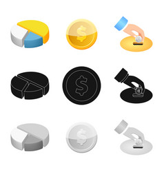 bank and money sign set of vector image