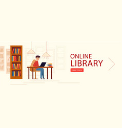 banner horizontal online library young man vector image