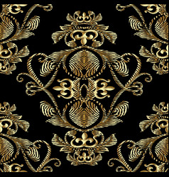 baroque gold embroidery 3d seamless pattern vector image