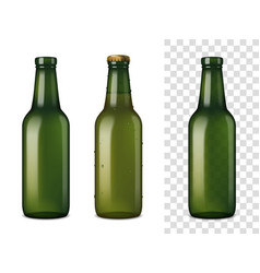 beer glass bottles realistic set vector image