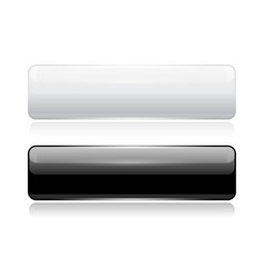 Black and white glass buttons web 3d shiny vector