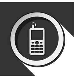 black and white round - old mobile phone icon vector image