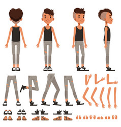 boy character creation set student boy vector image