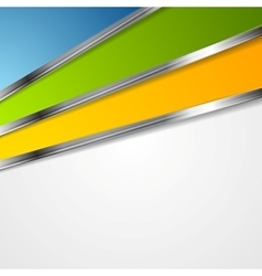 Bright tech background with metal stripes vector