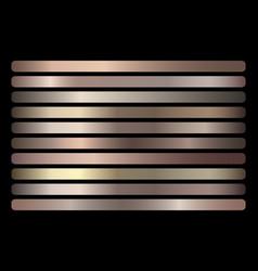 bronze metallic gradient set vector image