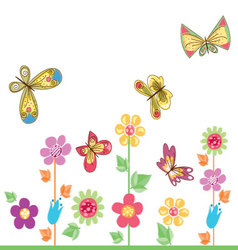 Butterflies-with-flowers-2 vector