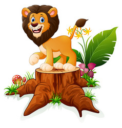 Cartoon lion on tree stump vector