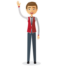 Cheerful young businessman waving her hand vector