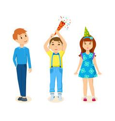 Children celebrating exploding firecrackers vector