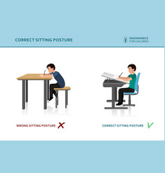 children ergonomic wrong and correct sitting pose vector image