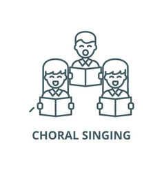 Choral singing line icon linear concept vector