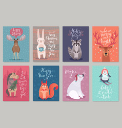 Christmas animals card set vector