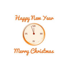Christmas card with the clock in orange tones vector