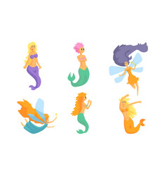collection cute fairy tale mermaids and vector image