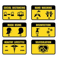 coronavirus prevention signs set vector image