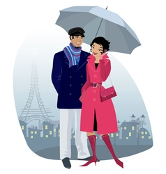 Couple at city vector image