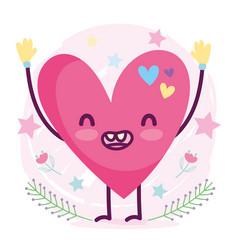 cute cartoon smiling heart love romantic character vector image