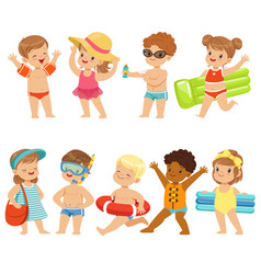 cute kids toons are having fun on the beach vector image