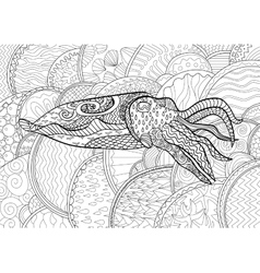 Cuttlefish with high details vector