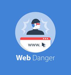 cyber crime online security safe internet access vector image