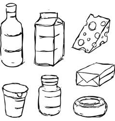 Dairy product - yogurt butter margarine milk vector