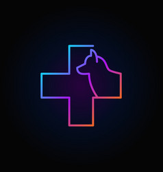 dog with cross colorful icon vector image