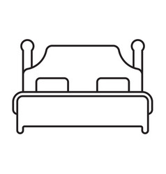 Double bed line art icon for apps or website vector
