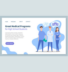 educational website landing page great medical vector image