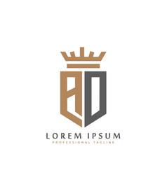 elegant wordmark ao initial shield crown logo vector image