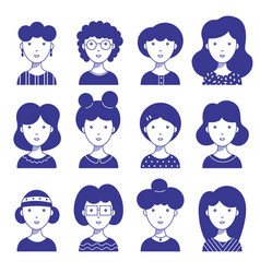 female icon avatars for social networks and web vector image