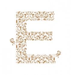 Floral letter e ornament font vector