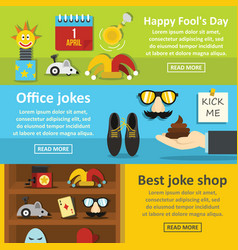 Fools day banner horizontal set flat style vector