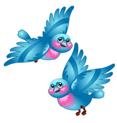 funny cartoon blue bird isolated on white vector image