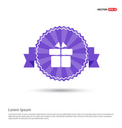 gift box icon - purple ribbon banner vector image
