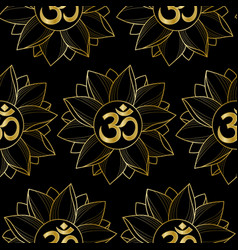 gold om and lotus seamless pattern vector image