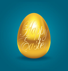 golden egg with happy easter text vector image