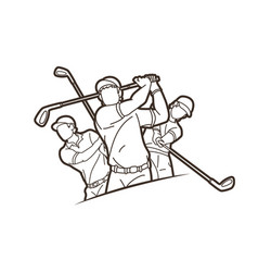 Group golf players action cartoon sport vector