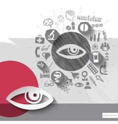 Hand drawn eye icons with icons background vector