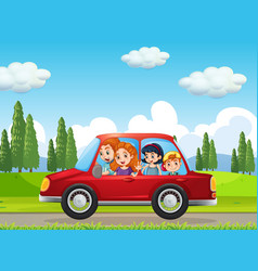 happy family travelling in nature scene red car vector image
