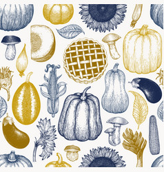 happy thanksgiving day seamless pattern hand vector image