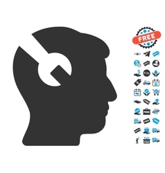 Head Surgery Wrench Icon With Free Bonus vector