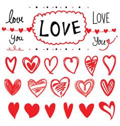 heart set of design elements cartoon vector image