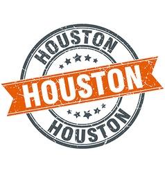 Houston red round grunge vintage ribbon stamp vector